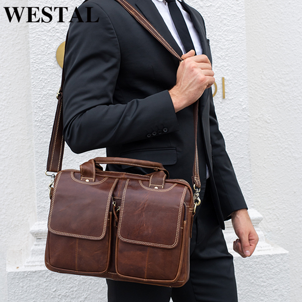 WESTAL Bag Men's Genuine Leather Briefcases Men Laptop Bag Leather Business Work Office Bags For Men Briefcases For Lawyer 8002