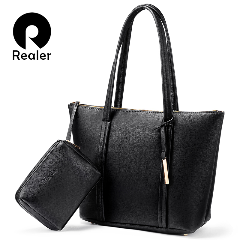 Realer Bag Set Large Tote Women Shoulder Bag Designer Handbags High Quality Messenger Bag Ladies Soft Artificial Leather Female