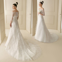 the new A shaped skirt light wedding dress large size, slim and simple long sleeved tail wedding dress bride shoulder