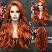 Wig Silver Side-Part Orange Lace-Front Women Cosplay Red-Color Synthetic Long Charisma