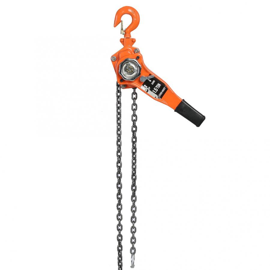 1 Set Alloy Steel 1.5Ton 10ft Lever Chain Hoist Ratchet Puller Lifting Equipment Lever Chain Puller Chain Hoist