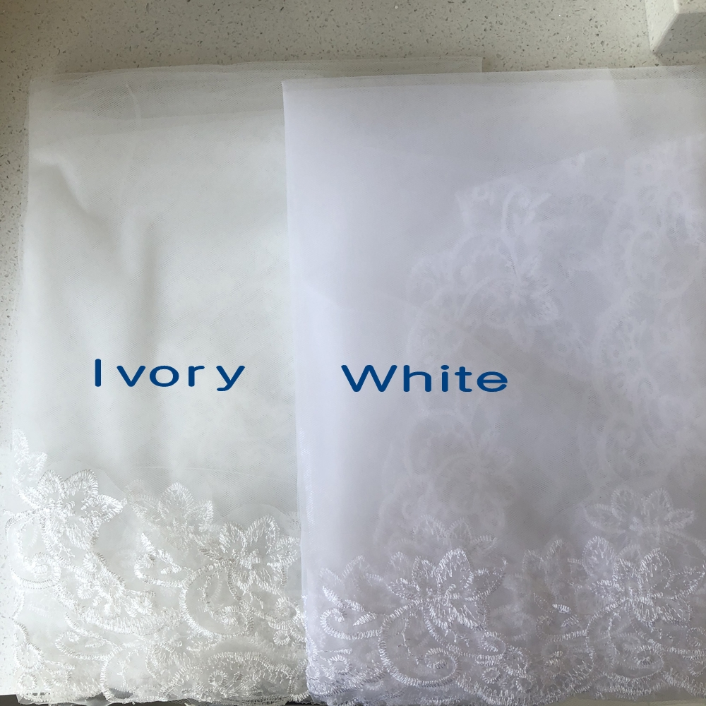 L&P DQL Studio New Store Promotion now !!! White/ Ivory Wedding Veils Soft tulle with Floral Applique 1.5*2m Bridal Veils