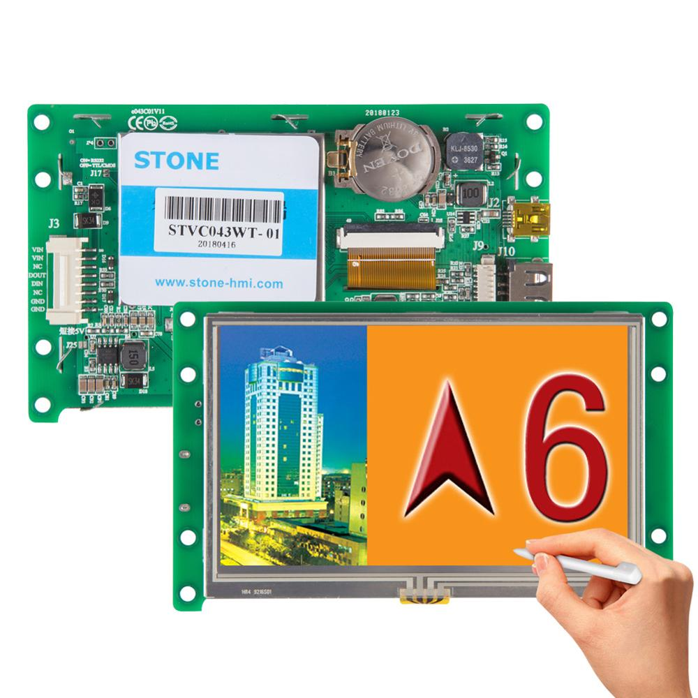 Smart RS232 UART LCD Display 4.3 Inch With Controller + Software + Touch Screen