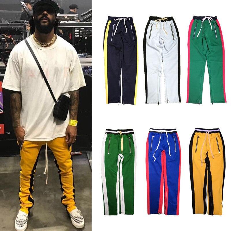 Retro Athletic Pants Feet Inside Zipper Contrast Color Stripes Men's WOMEN'S Casual Pants Tranck Pants