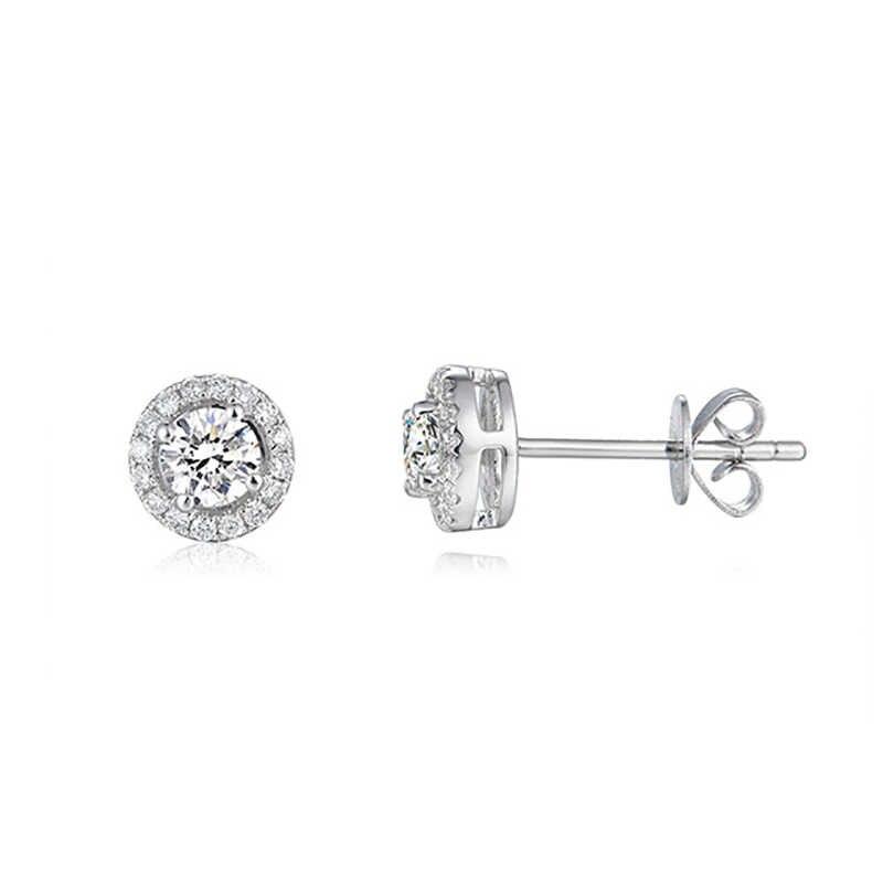 BOEYCJR 925 gümüş 0.3/0.5/1ct D renk Moissanite VVS güzel takı elmas düğme küpe ulusal sertifikası kadın hediye