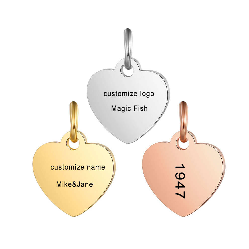 Customized Charms for Jewelry Making Gold Stainless Steel Heart Pendant Engrave Logo Letter Diy Earring Bracelet Necklace Lots