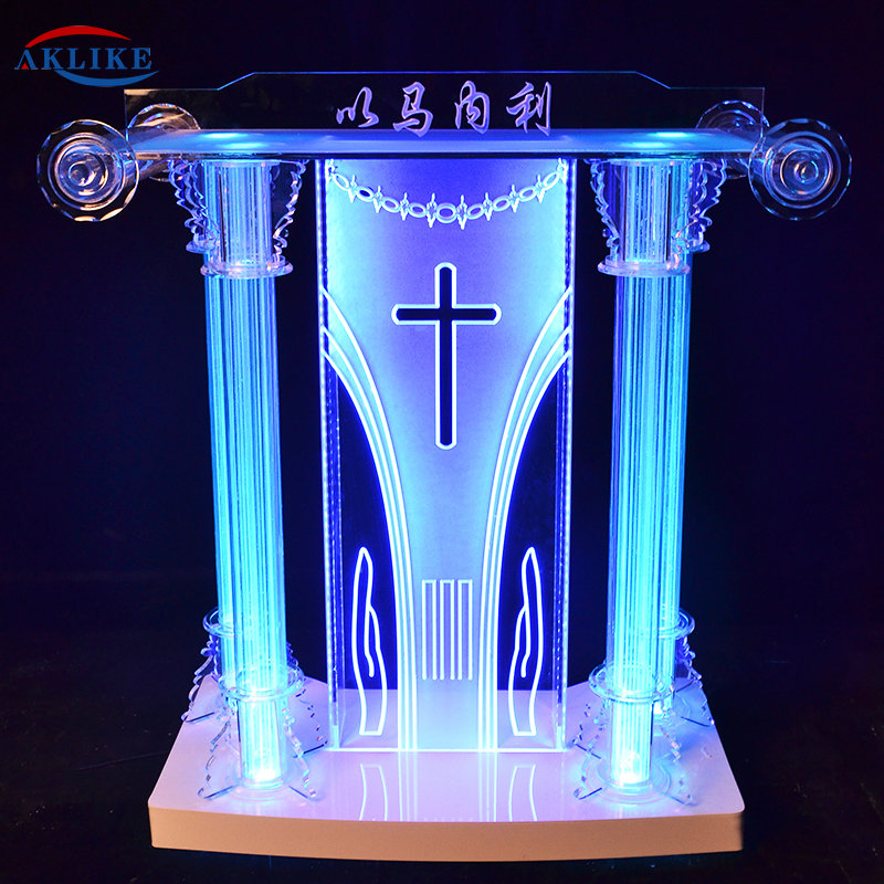 Acrylic Lectern Pulpito Modern AKLIKE Appearance And Commercial Furniture General Use  Plexiglass Podium For Church Pulpit