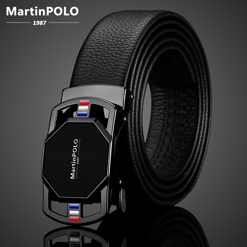 MartinPOLO Genuine Leather Belt Men Automatic Alloy Buckle Belts Luxury Cowskin Strap For Jeans 2020 New Arrival Black MP02901P