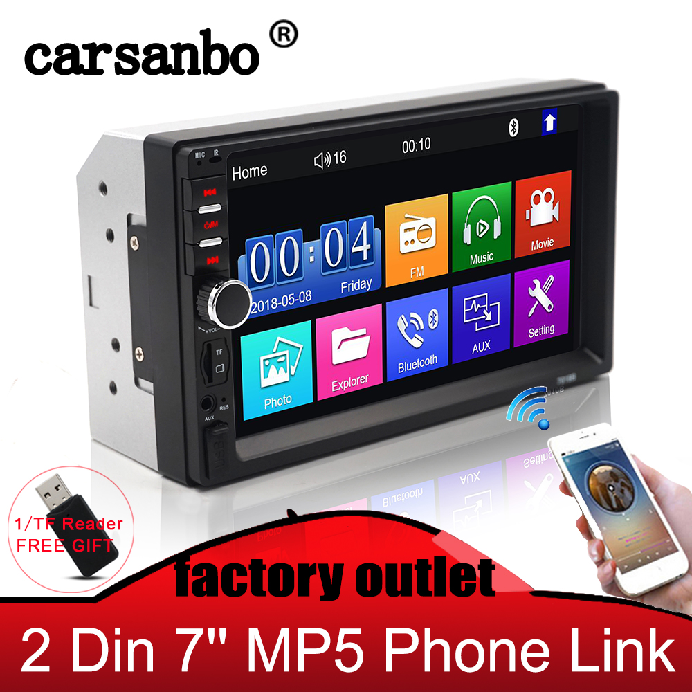 Carsanbo 7 Inch 2 Din <font><b>Car</b></font> <font><b>Video</b></font> Auto <font><b>Audio</b></font> <font><b>Car</b></font> Stereo Mirror Link Touch Screen Player Multimedia Mp5 Bluetooth USB TF FM Camera image