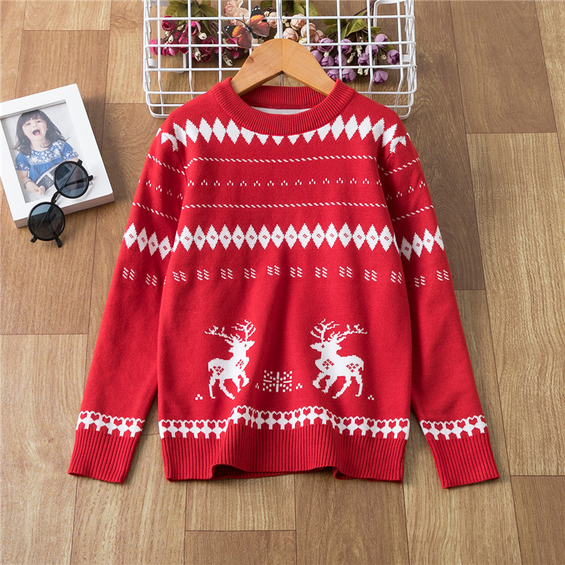 Toddler Boy Girl Christmas Sweater Knite Pullover Xmas Reindeer Elk Snowman Cartoon Sweatshirts Tops