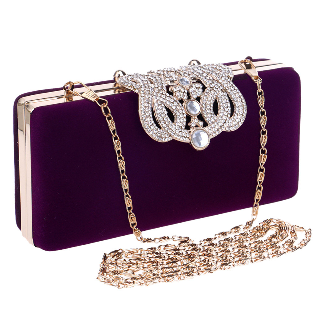 Clutch-Bags Purse Chain Shoulder-Bag Sac Crown Rhinestones Wedding-Diamonds Women Lady title=