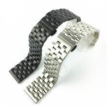 Correa de reloj de acero inoxidable para hombre y mujer, brazalete con hebilla de mariposa de Metal mate, 18, 19, 20, 21, 22, 24 y 26mm