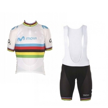 2019 world champion Alejandro Valverde rainbow cycling jersey kits breathable racing bike cloth Ropa Ciclismo maillot GEL PAD