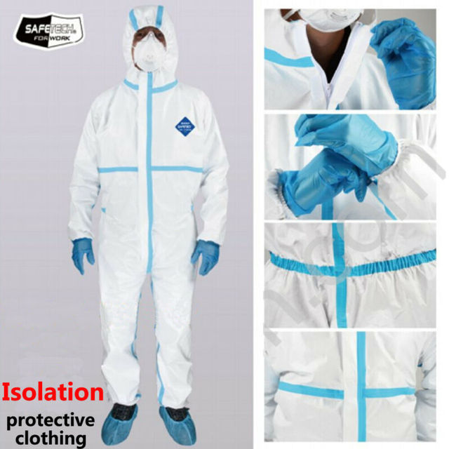 Professional PPE Suit Disposable Isolation Protective Clothing Coveralls Safety Hazmat Suit Non-woven Safety Clothing 4