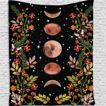 цена на Moon Floral Printed Tapestry Wall Hanging Psychedelic Boho Decor Wall Cloth Tapestry Mandala Hippie Wall Tapestry Home Decor
