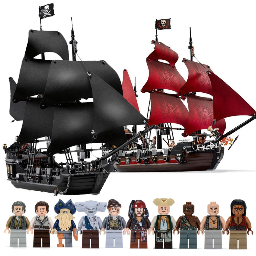 Black Pearl Ship Compatible With Pirates Ships 4184 4195 Caribbean Model Building Blocks Boys Birthday Gifts Kids Toys