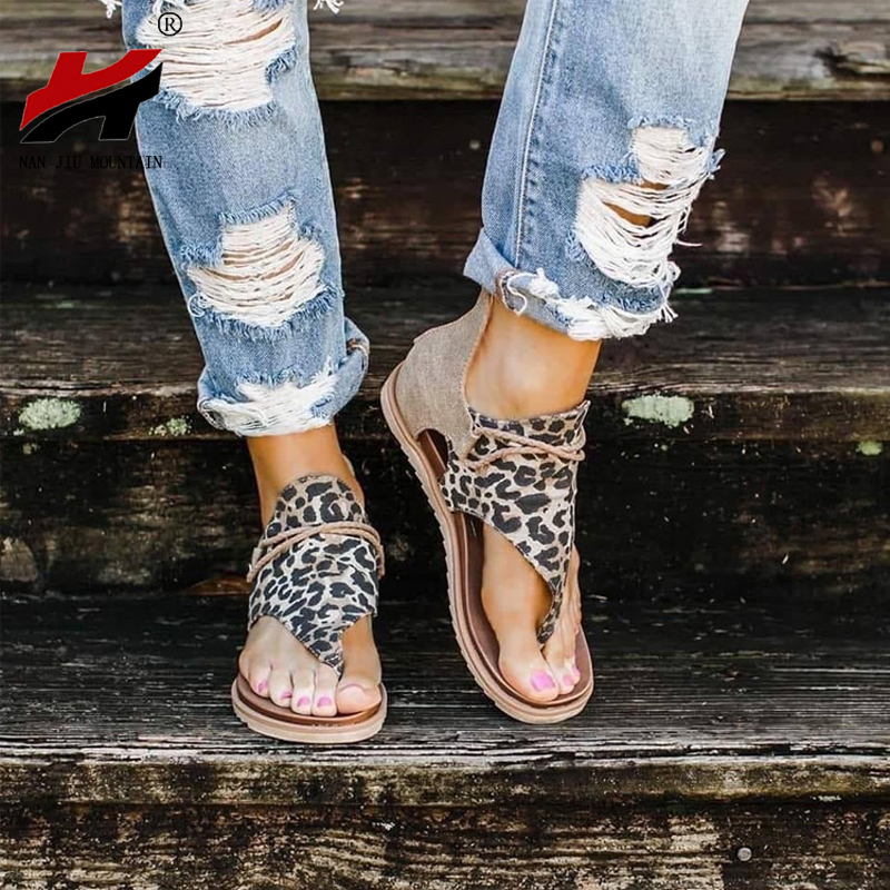 NAN JIU MOUNTAIN 2020 Flat Sandals Leopard Print Roman Sandals Summer Casual Women's Shoes Zipper Flip-Flop Sandals Plus Size