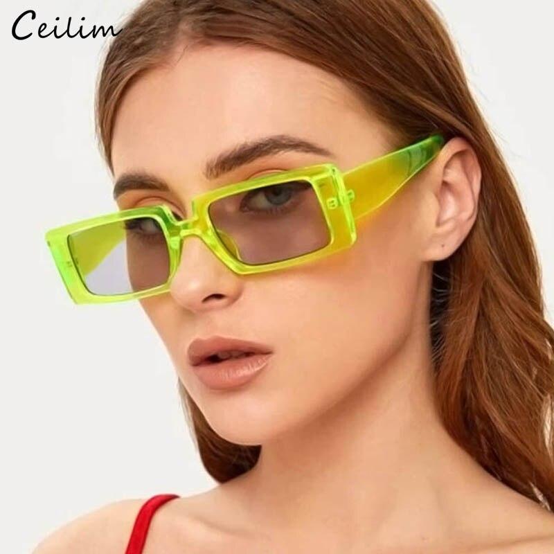 Mode Rectangle lunettes de soleil femmes 2020 marque Design noir vert épais cadre Cool lunettes de soleil carré nuances lunettes de soleil femme UV400