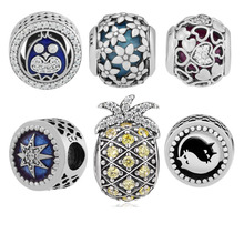 CKK Beads 100% 925 Sterling Silver Dazzling Daisies Sparkling Pineapple OWL Twins Cat Encased in Love Radiant Hearts Charms