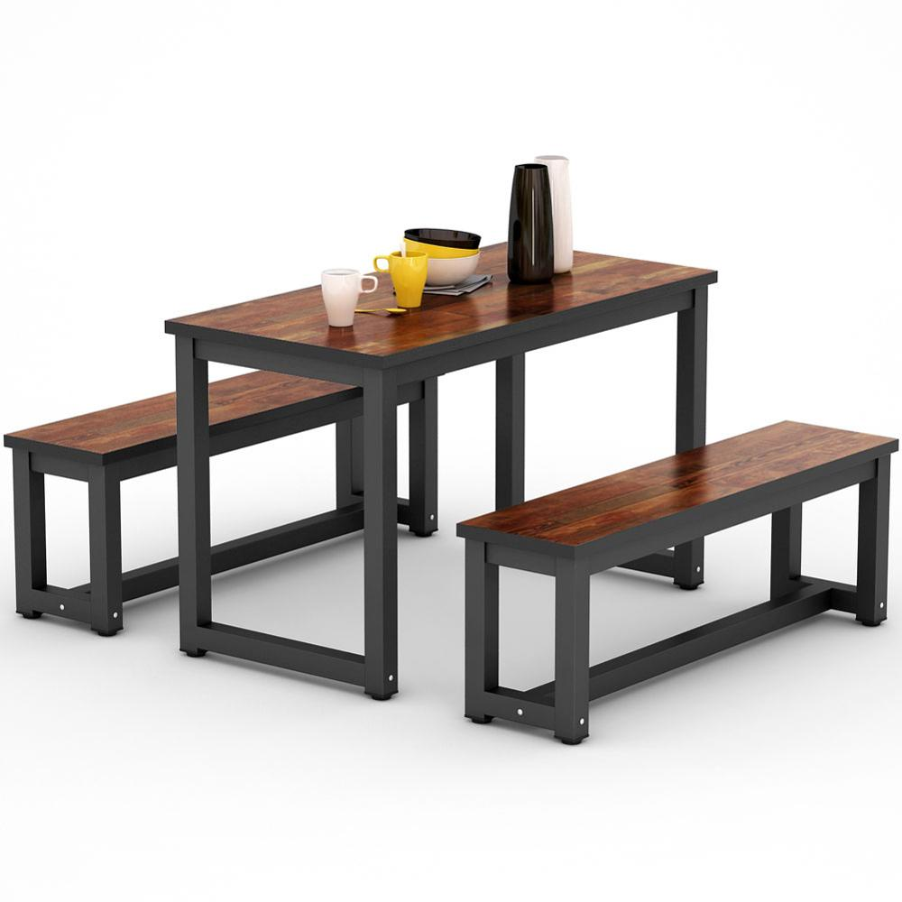 Rustic Style Dining Table With Two Benches Dining Room Sets