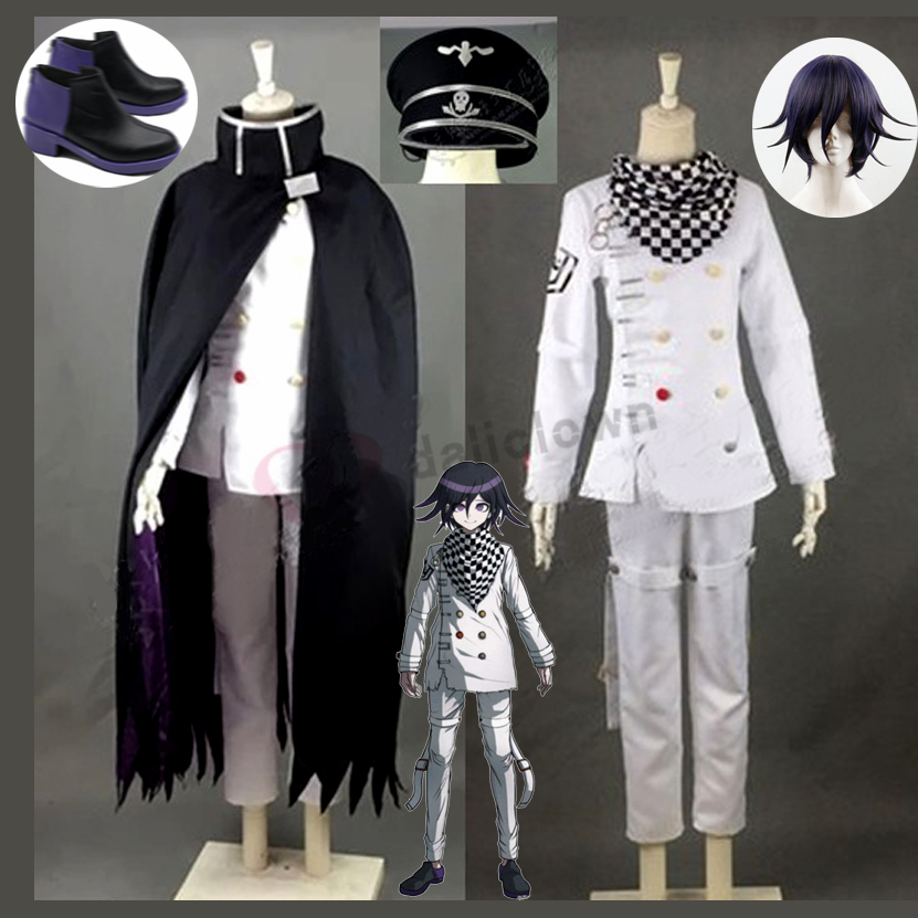 Danganronpa V3 Kokichi Ouma Cosplay Costume Japanese Anime Game School Uniform Suit Outfit Clothes Wig Halloween Carnival Props