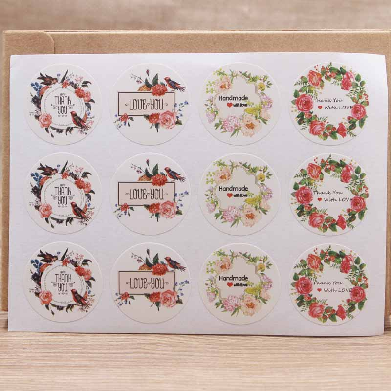 New Design 3cm100pcs Flower Pattern Thank You Sticker Label  Christmas Label Tag DIY Handmade Self Adhesive Label