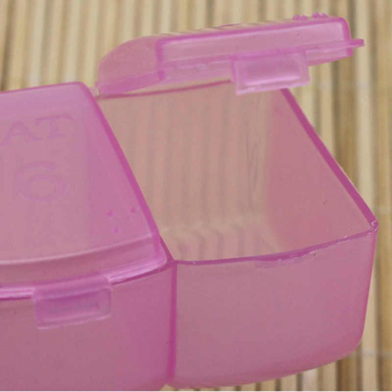 1PC 7 กริดโปร่งใส Lidded พลาสติก Mini รายสัปดาห์กล่องสำหรับชิ้นส่วนกล่องลูกปัดถังเครื่องประดับกล่องยาขายส่ง