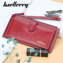 Baellerry Korean-style WOMEN'S Long Wallet Wax Oil Buckle Bright Skin 2019 Hot Selling Mobile Phone Bag Purse(China)