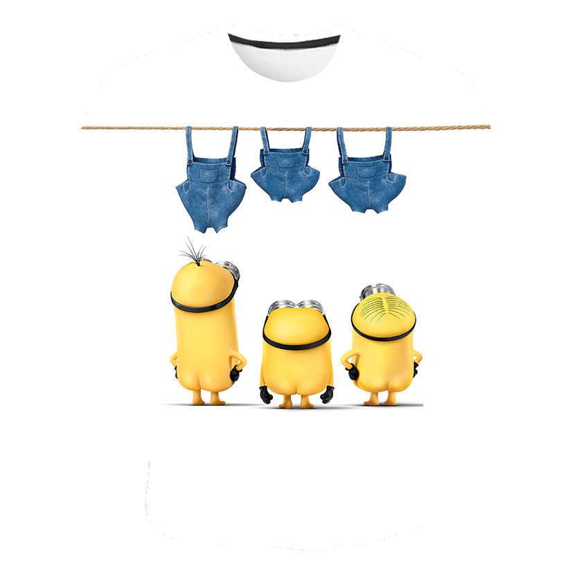 2020 만화 귀여운 미니 밴 바나나 3D 프린트 티셔츠 소년 소녀 카와이 티셔츠 여름 O 넥 티셔츠 티즈 키즈 옐로우 옷 Dropsh
