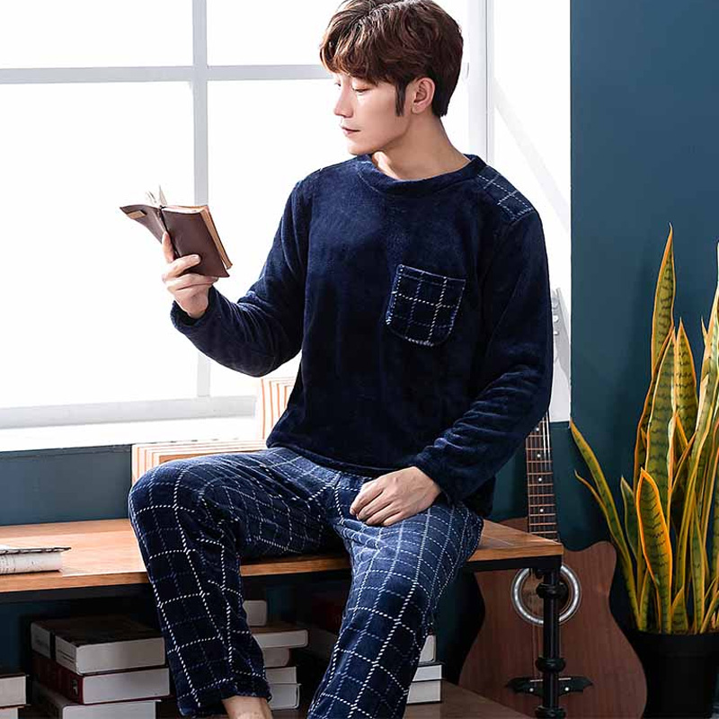 2019 New Style Mens Pajamas Autumn Winter Warm Flannel Thicken Male Pajama Set Long Sleeve Sleepwear Top +Pant Leisure Homewear