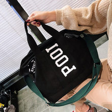 New Style Winter Canvas Big Bag Korean-style Lettered Hand Shoulder Oblique WOMEN'S Bag Large Capacity Shopping Bag Simple Fashi(China)