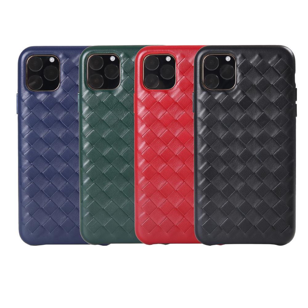 Image 3 - Fashion Woven Pattern Genuine Leather Case For Apple iPhone 11 Pro Max Luxury Soft Good Touch Cover For iPhone 11/ Pro/ Max CaseFitted Cases   -