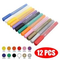 12 cores/conjunto de canetas de marcador de tinta acrílica definido para seixo & rock pintura scrapbooking álbum diy cartão preto grafite|Canetas e pincéis p/ pintura por número| |  -