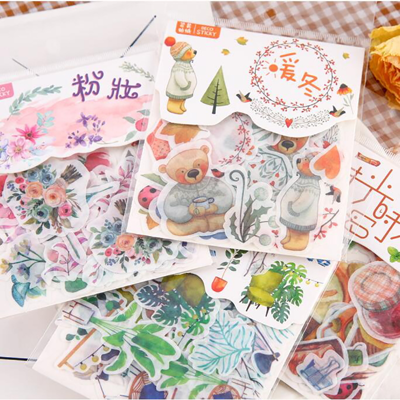 40 Pcs / Pack Of Creative Warm Winter Leaves Forest Fawn Travel Diary Album DIY Decoration Sticker Bag Children Stationery Gift