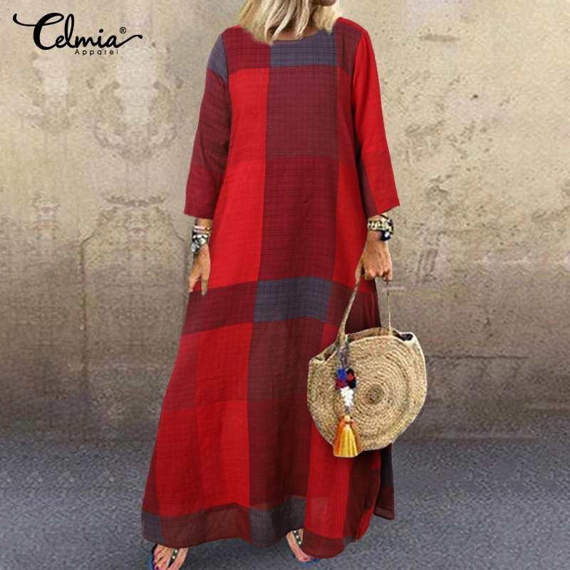Dresses Celmia Autumn Kaftan Dress Celmia Women Fashion Check Maxi Long Dress Plaid Long Sleeve Loose Vestidos Vintage Robe 5XL
