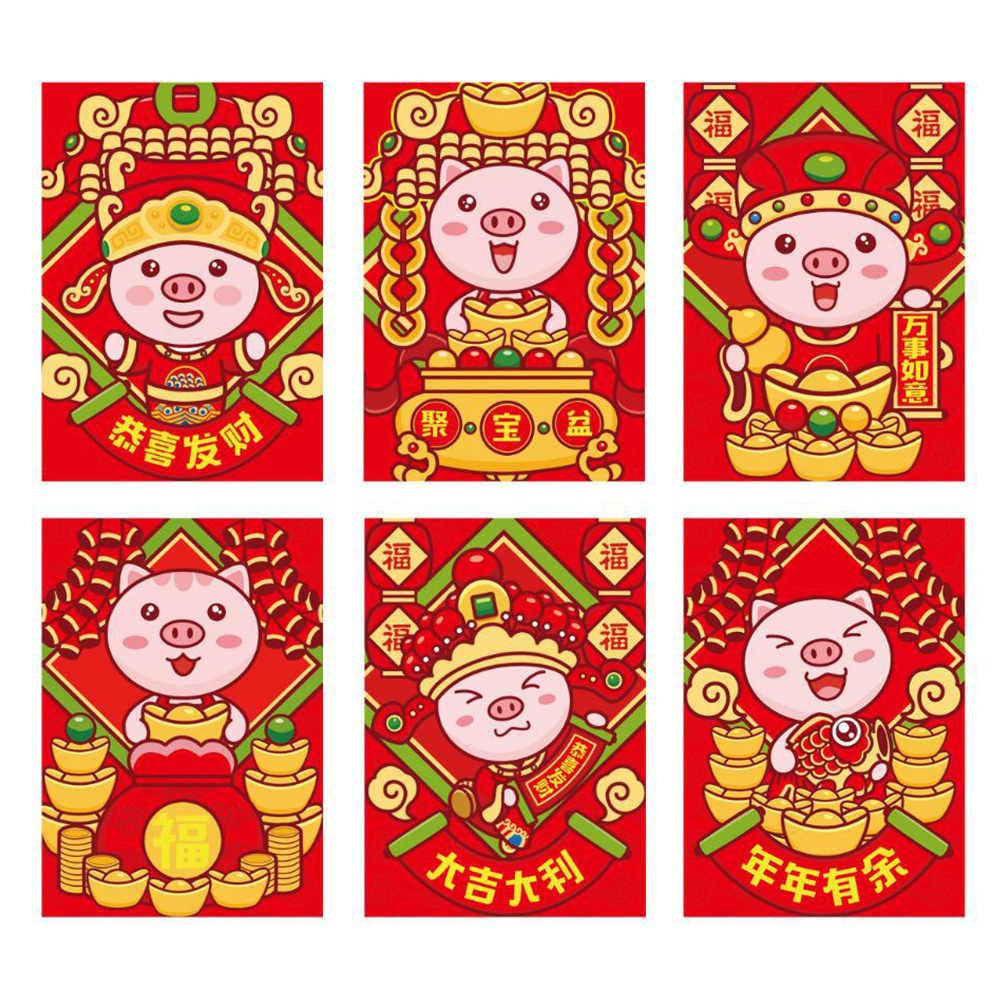 Envelopes Vermelhos chineses Pacotes de Dinheiro Presente Do Miúdo Feliz Ano Novo Papel 6pcs Boa Sorte 2019 Festival da Primavera Melhores Desejos decoração Da Sua casa