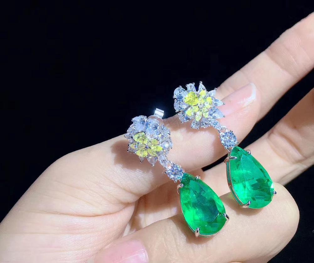 Couleur verte larme forme de goutte 925 en argent sterling avec zircon cubique goutte boucle d'oreille mode femmes bijoux pour mariage de fête