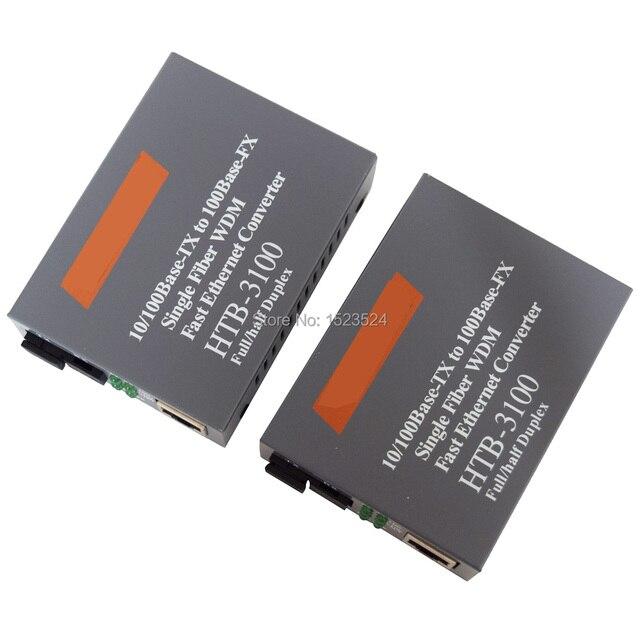Htb 3100ab Optical Fiber Media Converter Fiber Transceiver Single Fiber Converter 25km SC 10/100M Singlemode Single Fiber