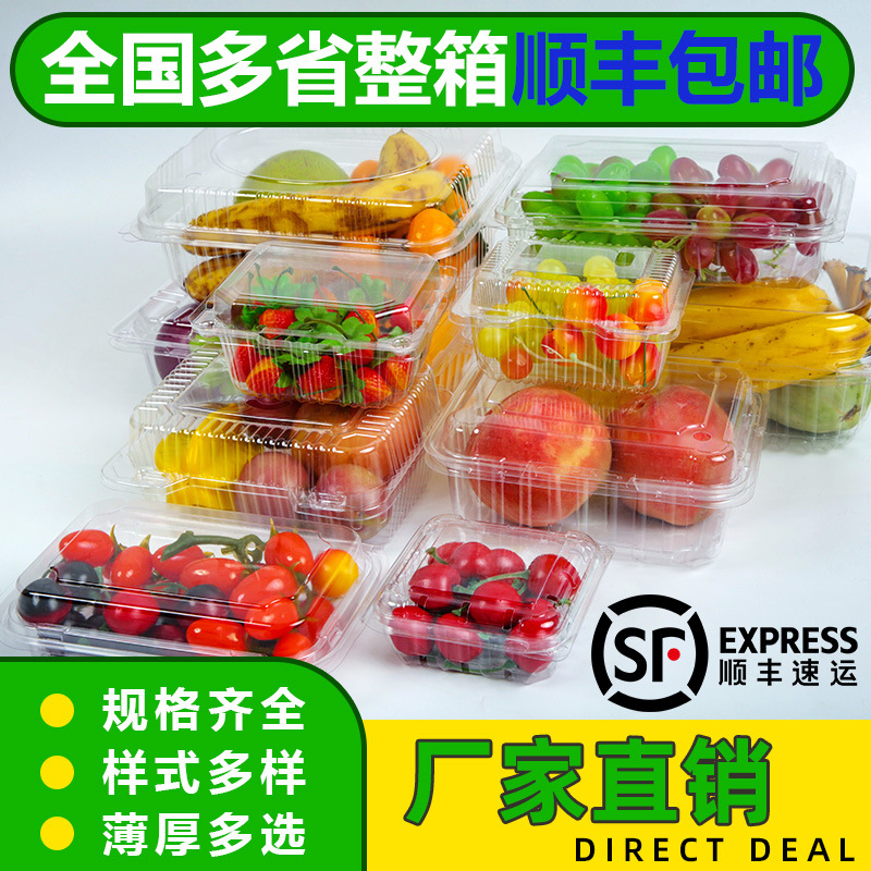 Disposable Transparent Fruit & Vegetable Plastic Box With Cap Gift Box Strawberry Freshness Box Fruit Cut Bale Box Platter