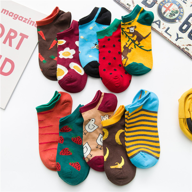 Fashion Woman Harajuku Style Fun Gourmet Animal Pattern Short Socks Invisible Happy Woman Socks Korean Women Style Fashion Socks