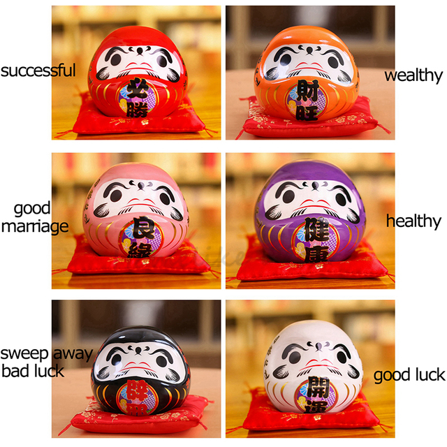 4.5 inch Japanese Ceramic Daruma Doll Lucky Charm Fortune Ornament Fengshui Zen Craft Money Box Home Tabletop Decoration Gifts 6