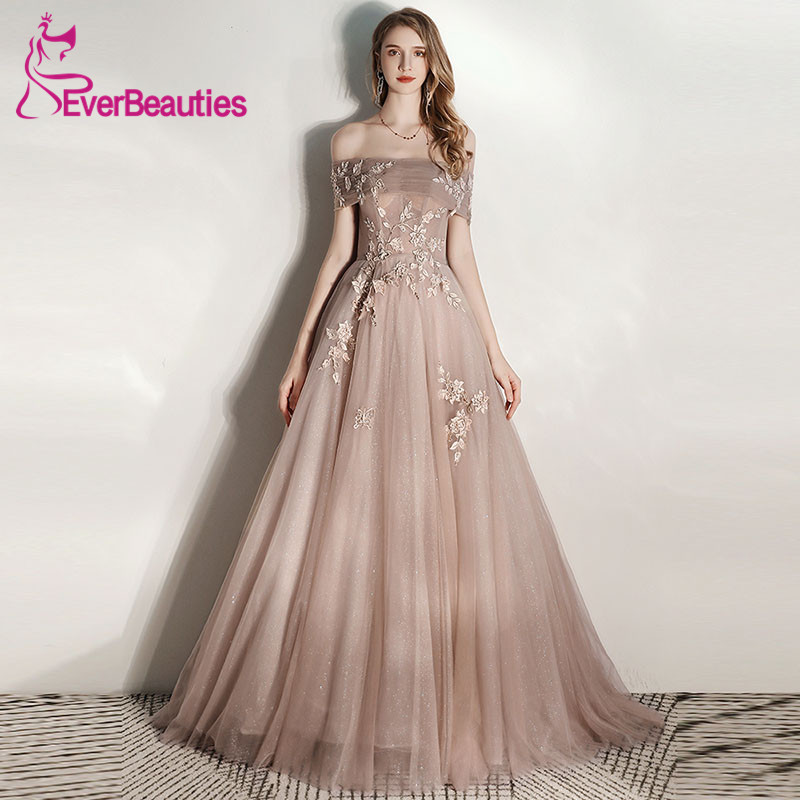 Off The Shoulder Tulle Prom Dresses Long 2020 Vestidos De Gala Formal Gowns Elegant Robe De Soiree Vestido Formatura