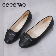 A Pedal Shallow Mouth Ins Small Leather Shoes Female 2019 New Nurses Work Shoes Flat Soft Bottom Leisure Shoes 22 korean female black work shoes candy shoes pointed flat with flat shoes shallow mouth small son wild shoes b25