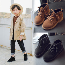 Buy Autumn Fashion Boys Boots Unisex Children's Martin boots Kids Boots Girls Casual Leather Shoes 4 5 6 7 8 9 10-14T Black Brown directly from merchant!