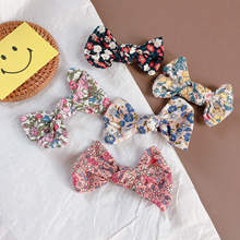 Korean Print Flower Bow Knot Cute Kids Children Girls Fall Winter BB Hairpins Hair clips Head wear Hair Accessories-SWC5-W5 цена и фото