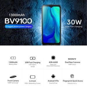 Image 2 - البلاكفيو BV9100 هاتف أندرويد 9.0 بشاشة 6.3 بوصة هاتف ذكي IP68 متين MT6765 ثماني النواة 4GB + 64GB 13000mAh بطارية 30 واط شحن سريع