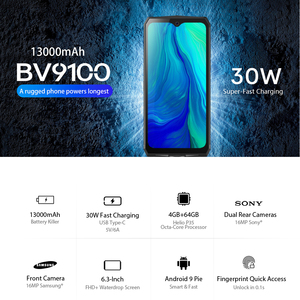 "Image 2 - Blackview BV9100 Android 9.0 Phone 6.3"" Screen Smartphone IP68 Rugged MT6765 Octa Core 4GB+64GB 13000mAh Battery 30W Fast Charge"