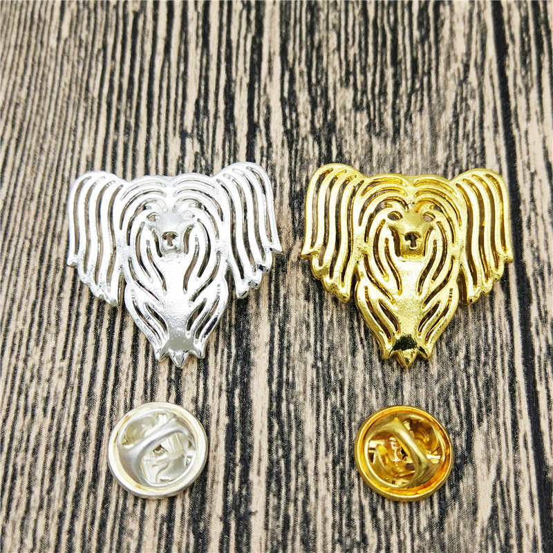 LPHZQH Fashion Chinese Crested Dog Broches gold color silver color Brooch Lapel Pin Collar Accessories jewellery Men's Gift