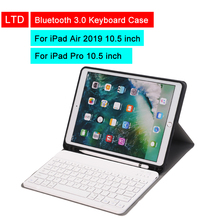 Buy Bluetooth 3.0 Tablet Keyboard Case For iPad Air 2019 iPad Pro 10.5 inch Mediapad Flip Leather Cover For Apple iPad With Keyboard directly from merchant!
