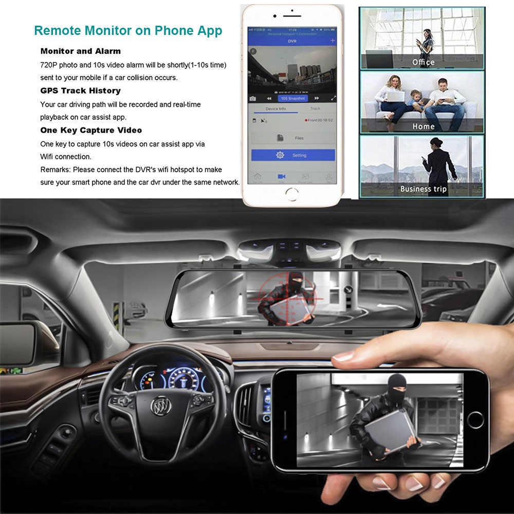 Grabadora de vídeo 4G 12 pulgadas cámara de salpicadero Dual len espejo retrovisor coche dvr Android 8,1 ADAS navegación Full HD Video registrador grabadora